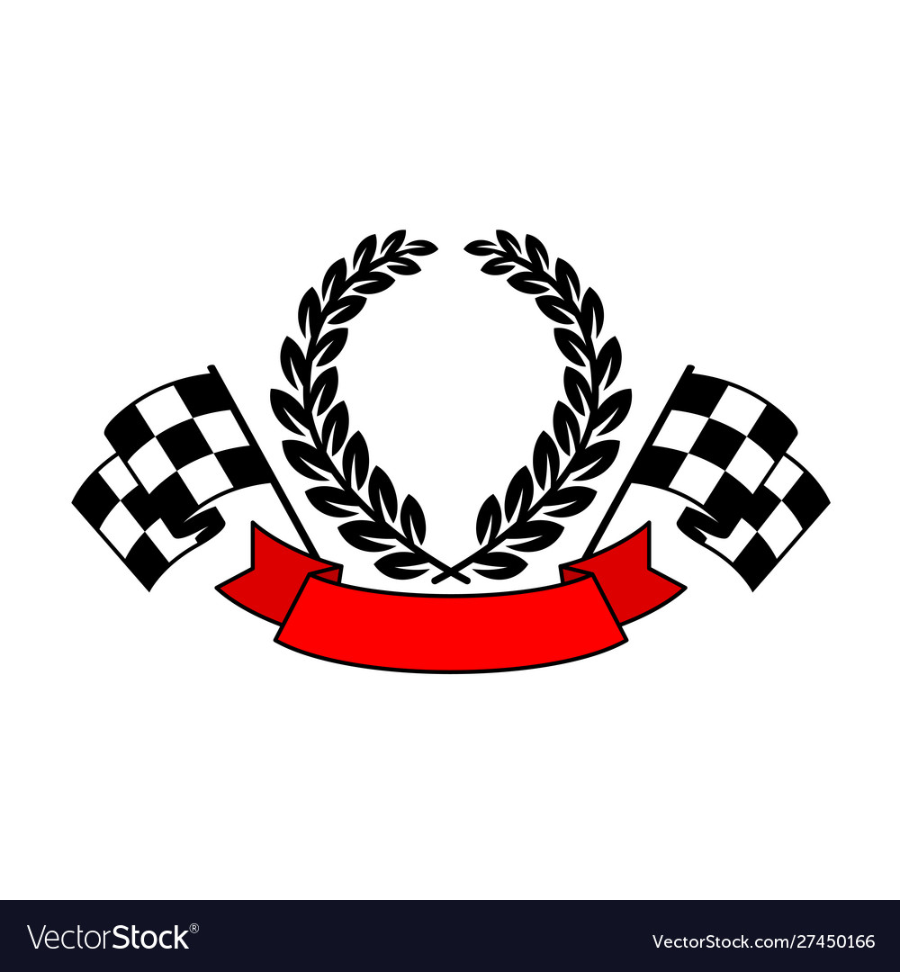 Racing flags with wreath and ribbon text