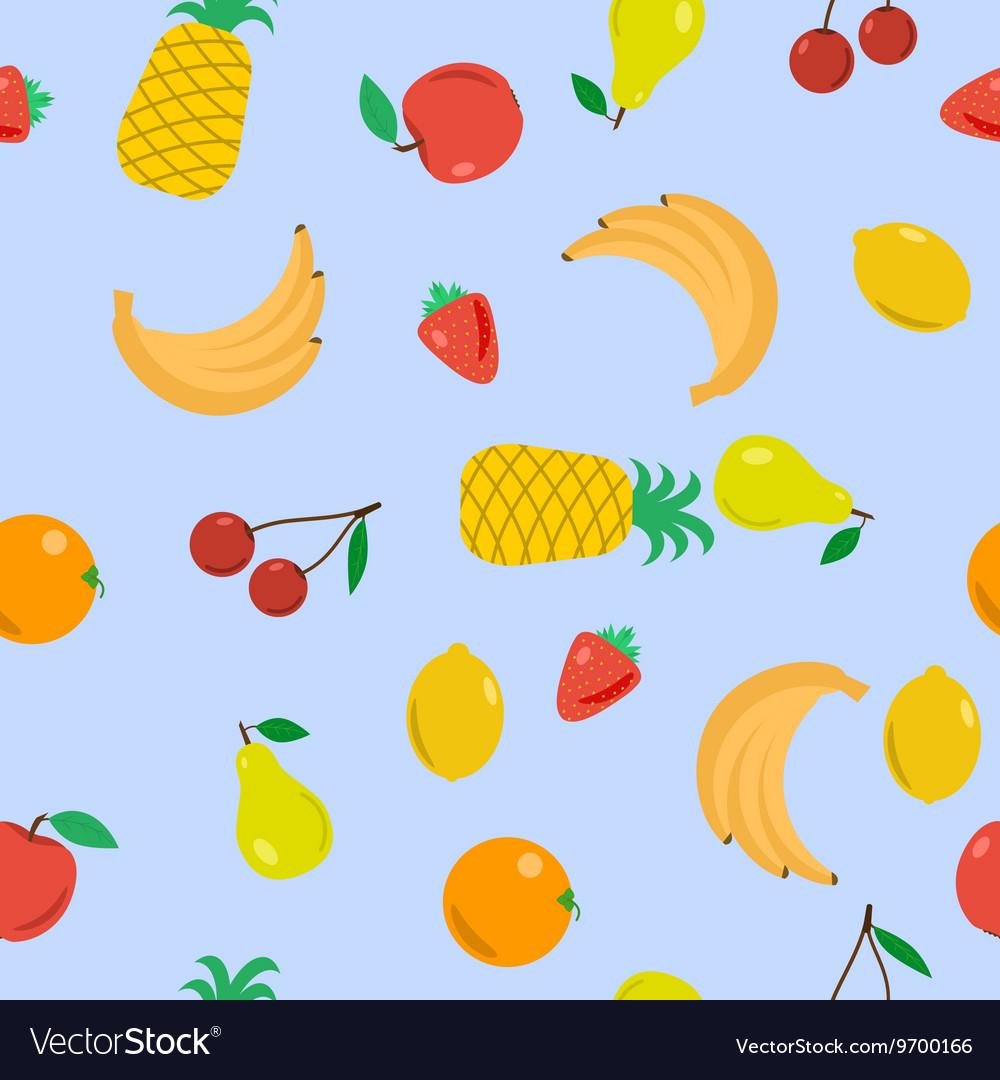Seamless - fruits on blue