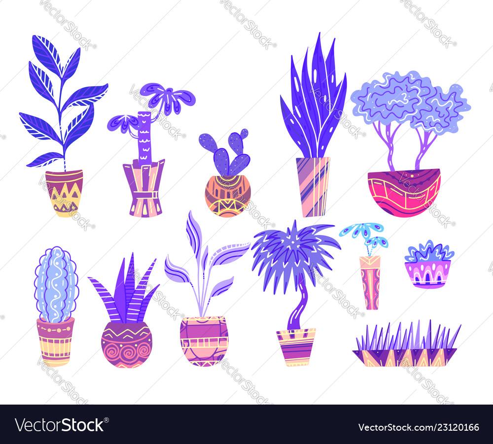 Set neon cartoon home flowers in pots