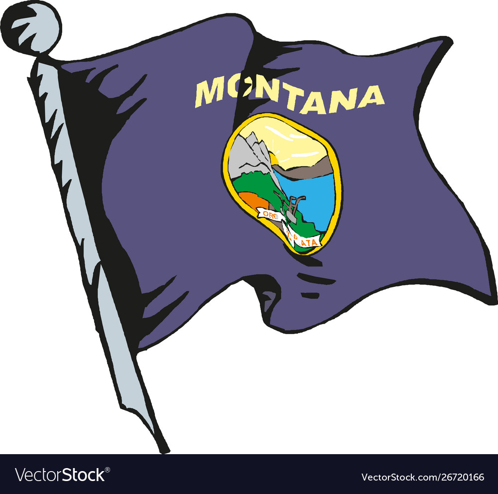 State montana flag waving form on white