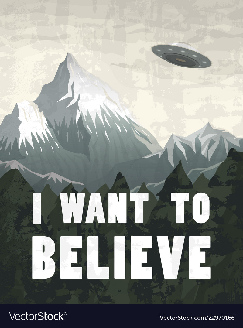 Ufo or flying saucer on a background of mountains