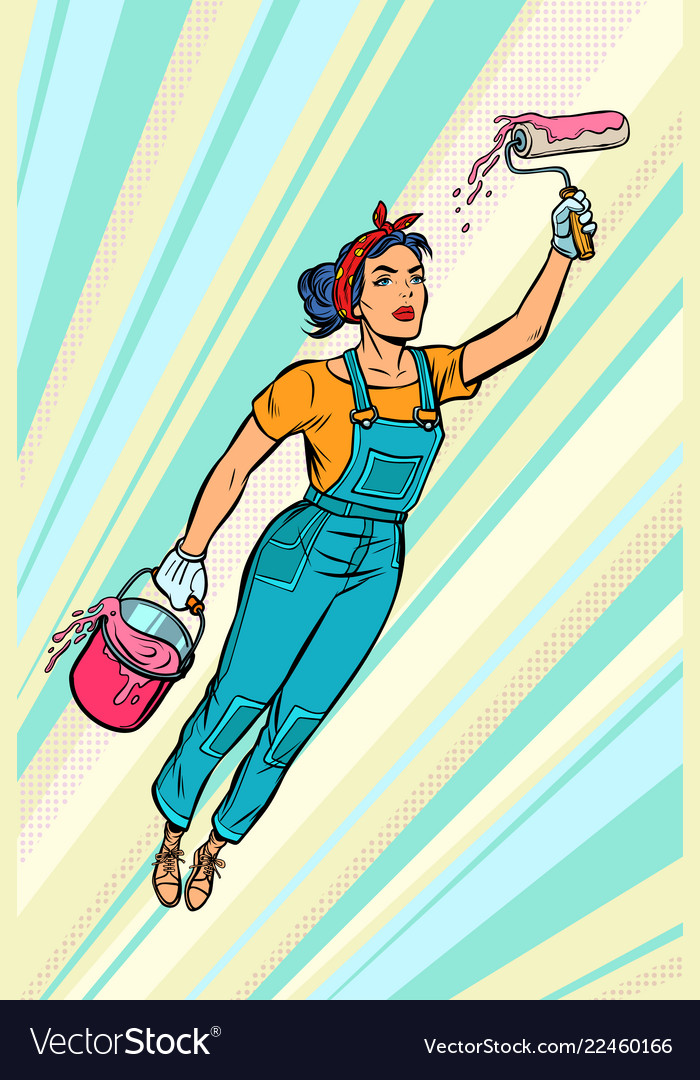 Woman painter superhero flies