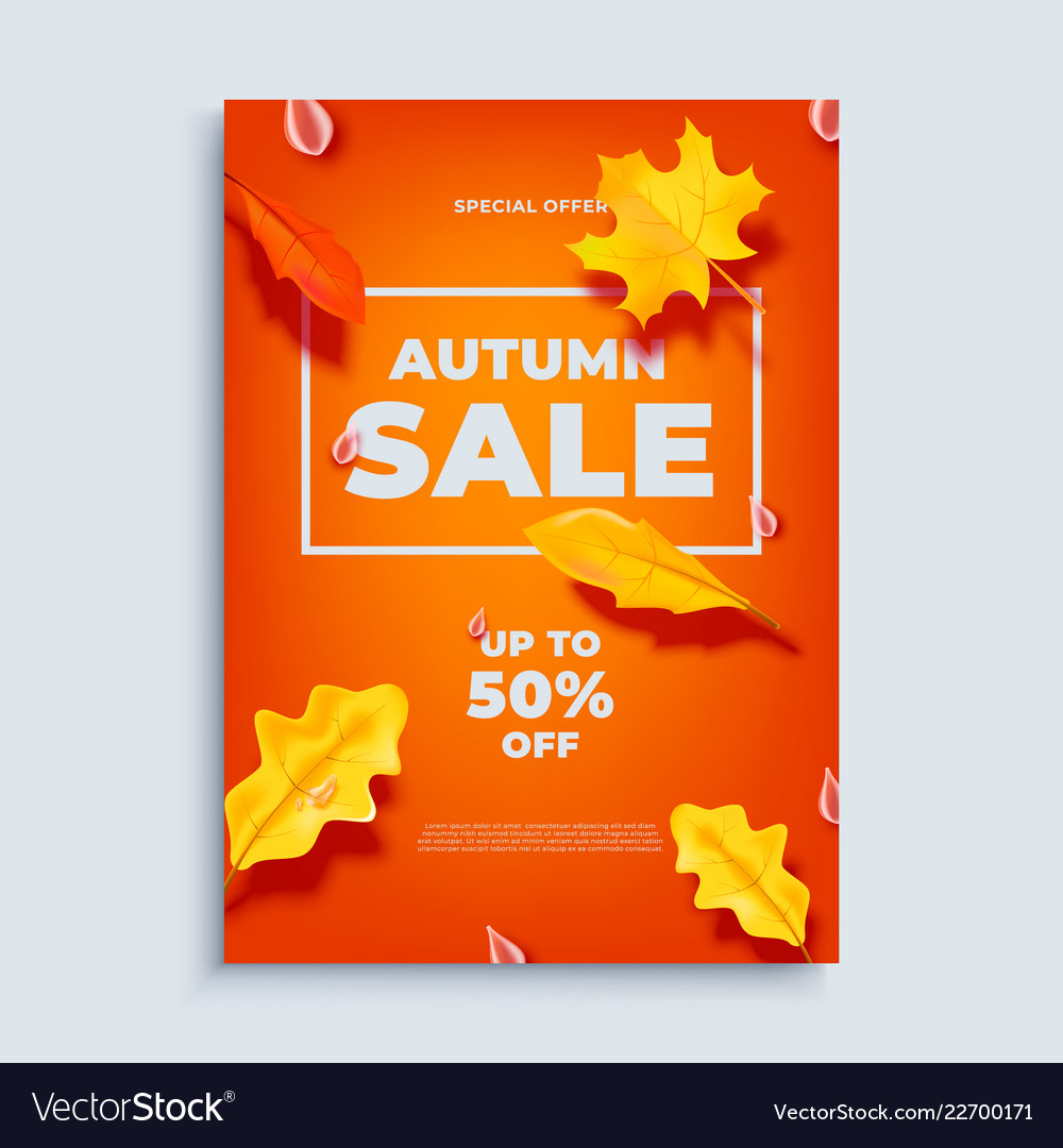 Autumn sale banner background with fall