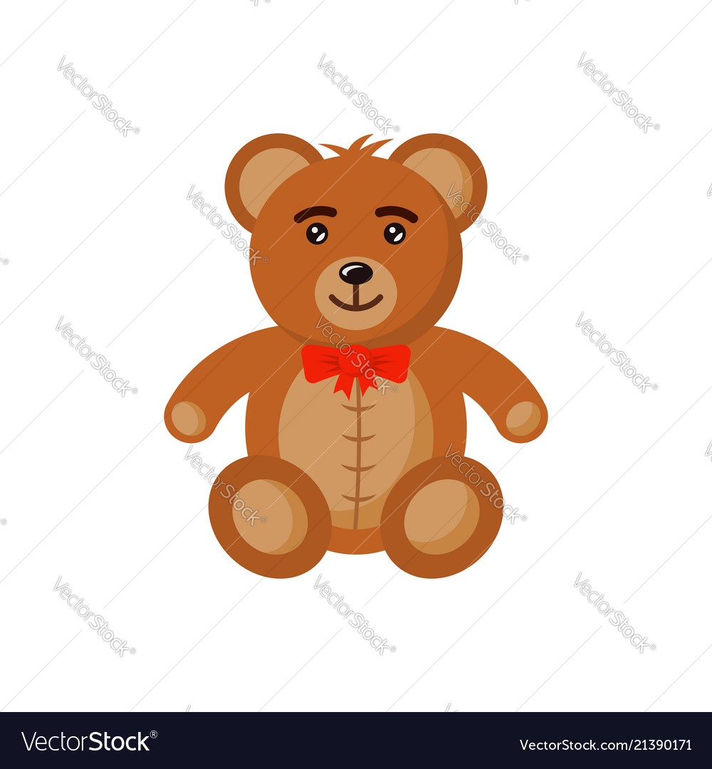 Bear toy flat style cartoon