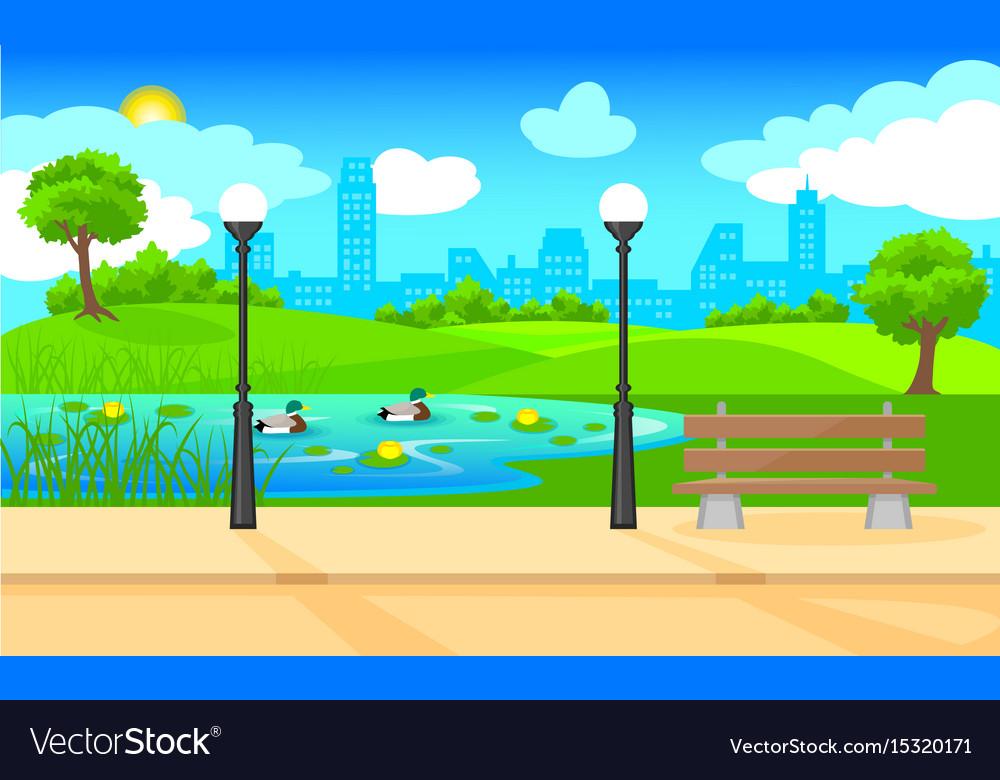 Light City Park Landscape Background Royalty Free Vector