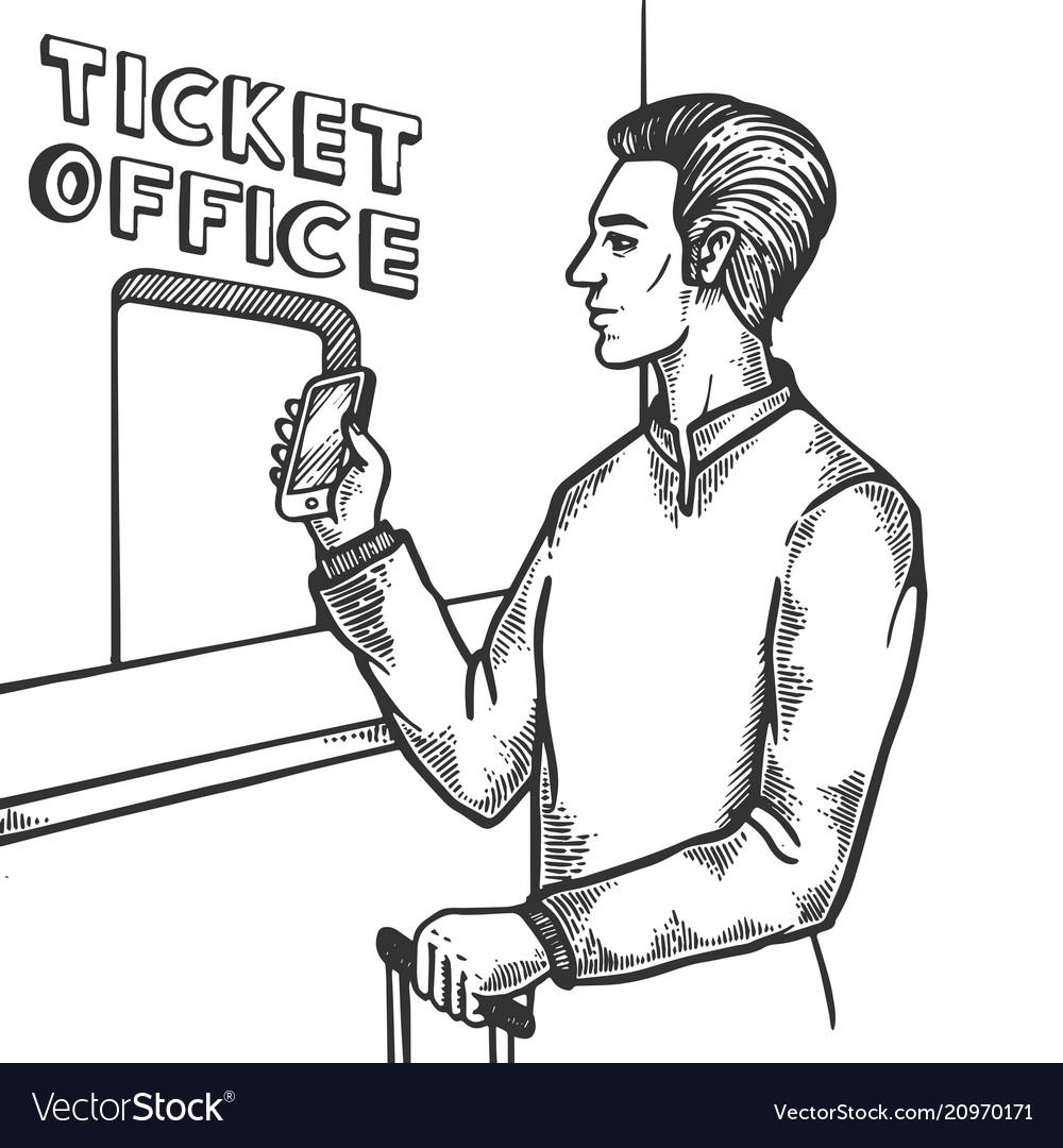 Man near ticket office engraving