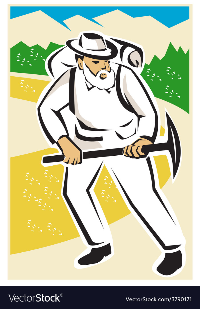 Miner with pick ax and backpack mountains retro