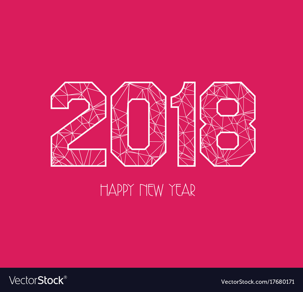 New years 2018 polygonal line background vector image