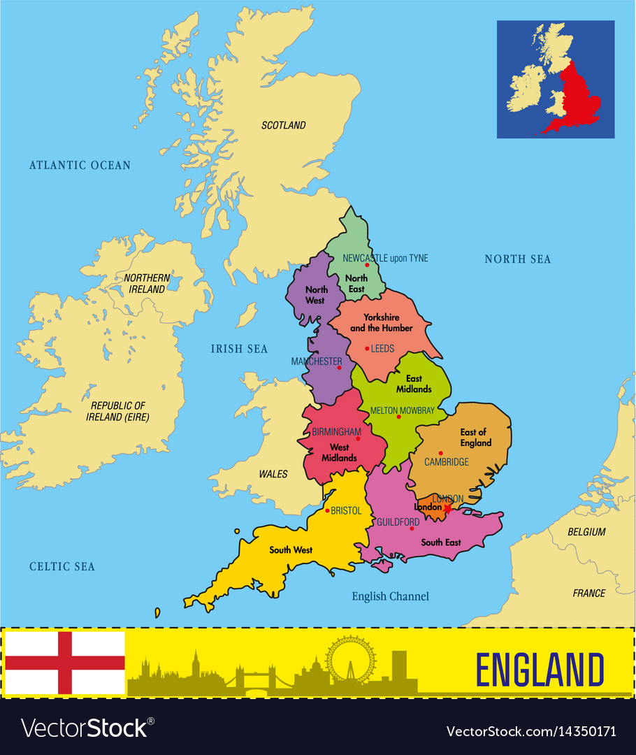 Political Map Of England With Regions Royalty Free Vector