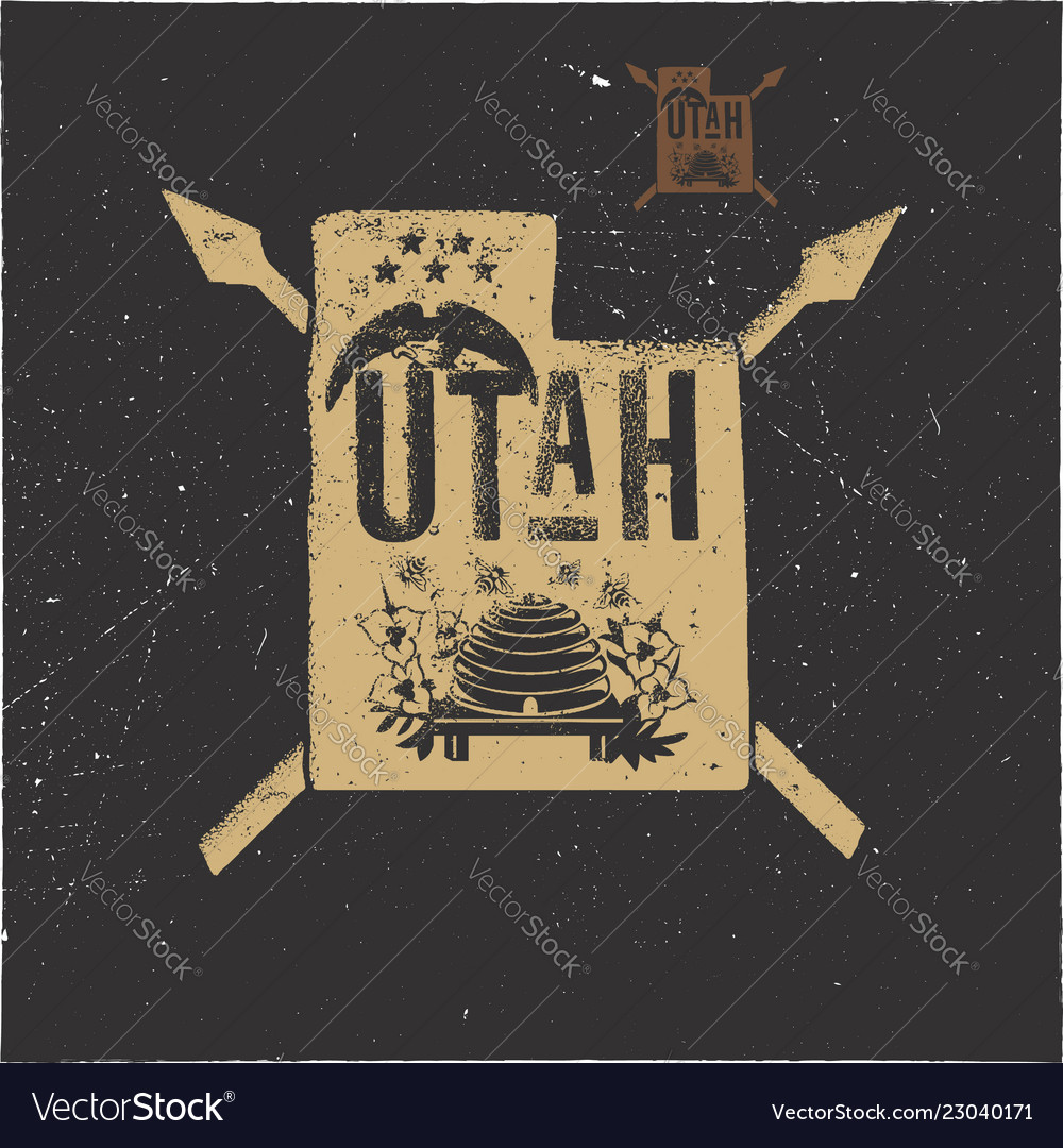 Retro utah poster with local symbols usa state