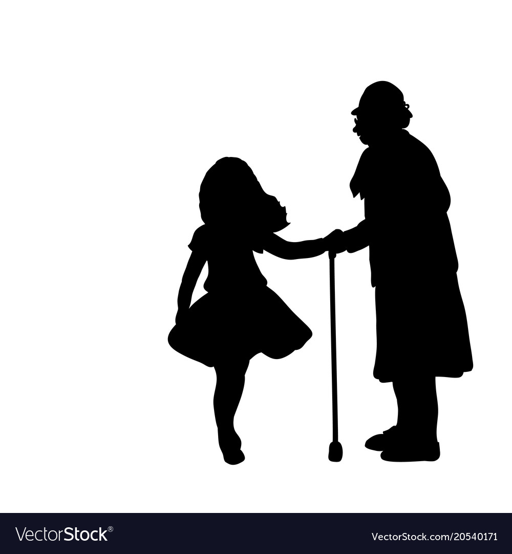 Silhouette girl cares helps grandmother