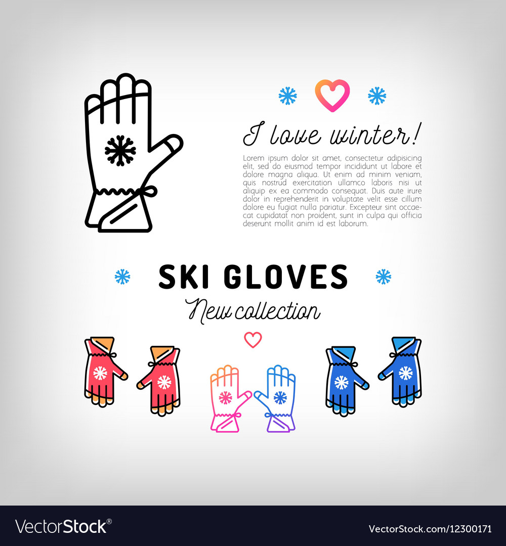 Ski gloves thin line icons winter sports mittens