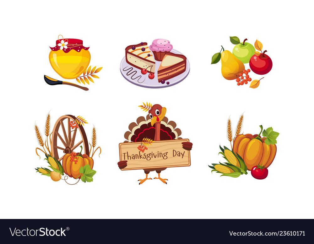 Thanksgiving day design elements autumn symbols