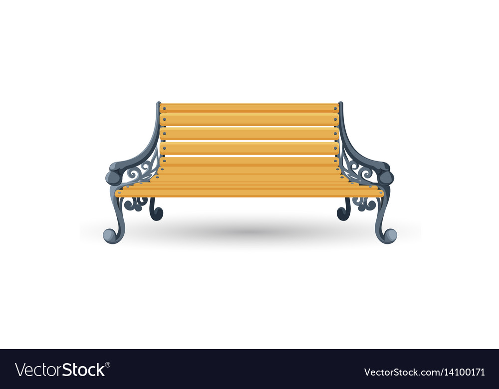 Wooden bench isolated on white background place