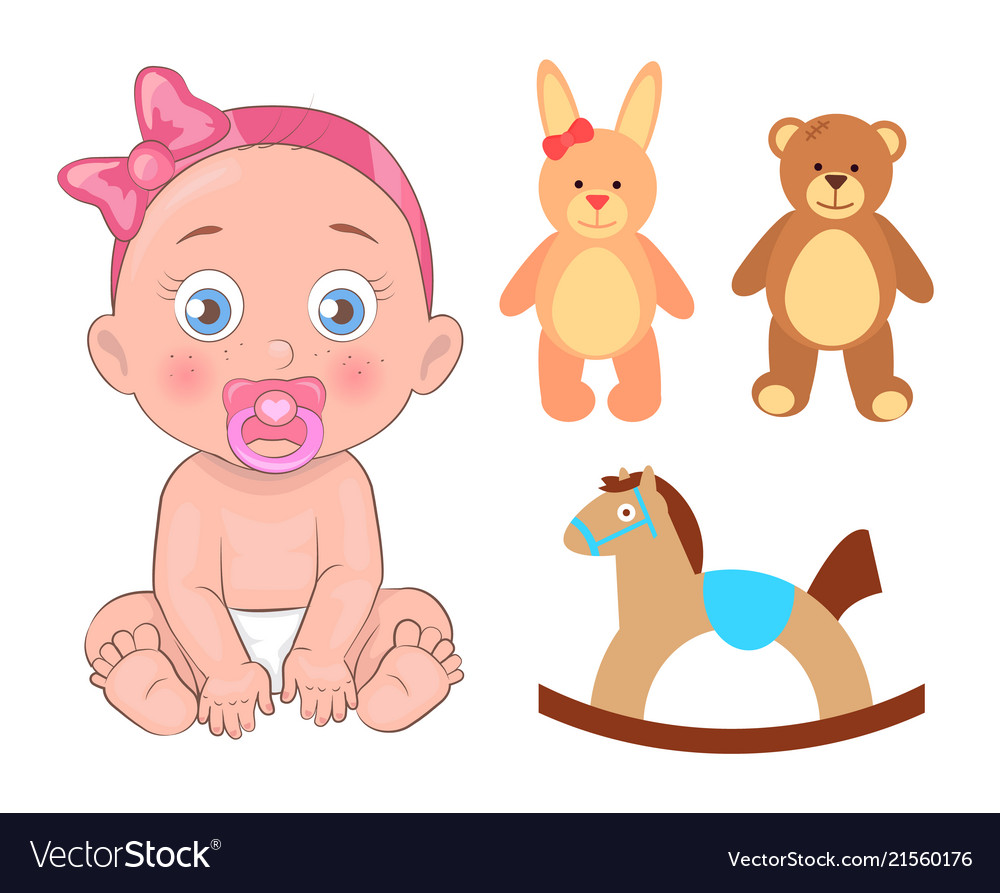Baby girl in pink ribbon with pacifier and toys