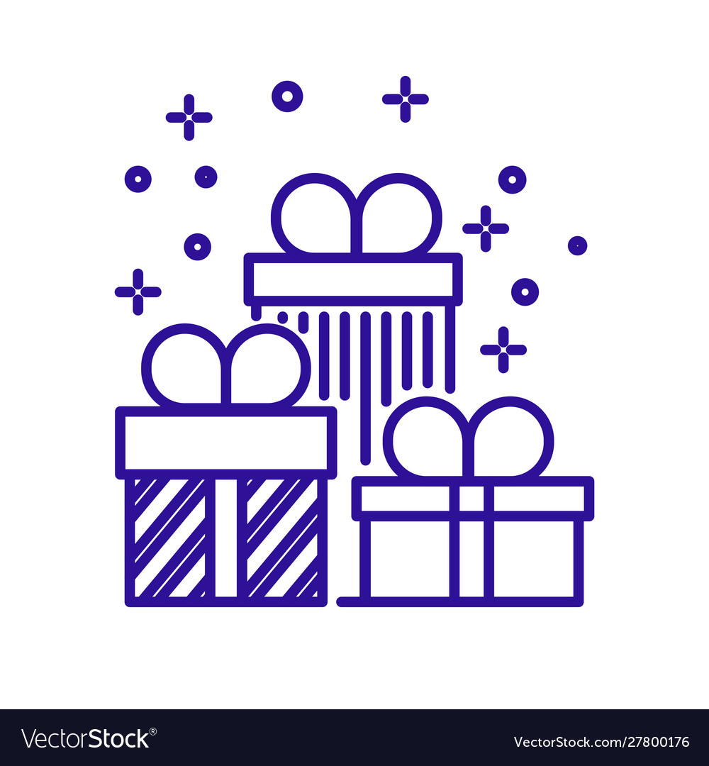 Christmas presents and wrapped gift boxes linear