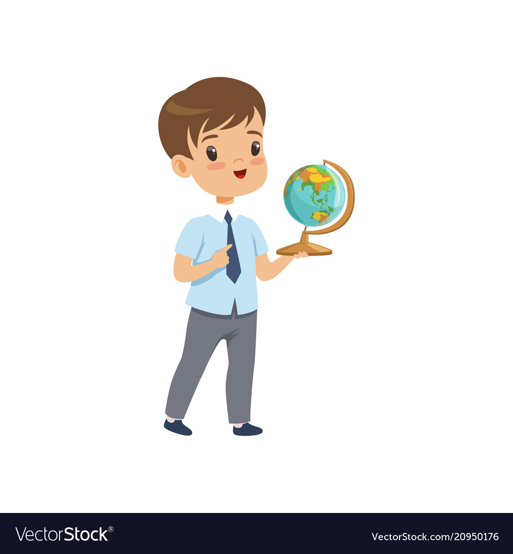 Cute boy standing with globe at geography lesson