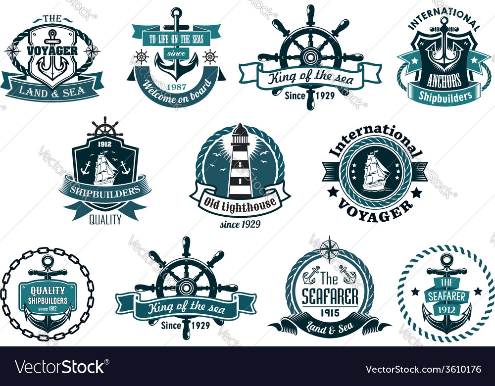 Dark blue nautical labels vector image