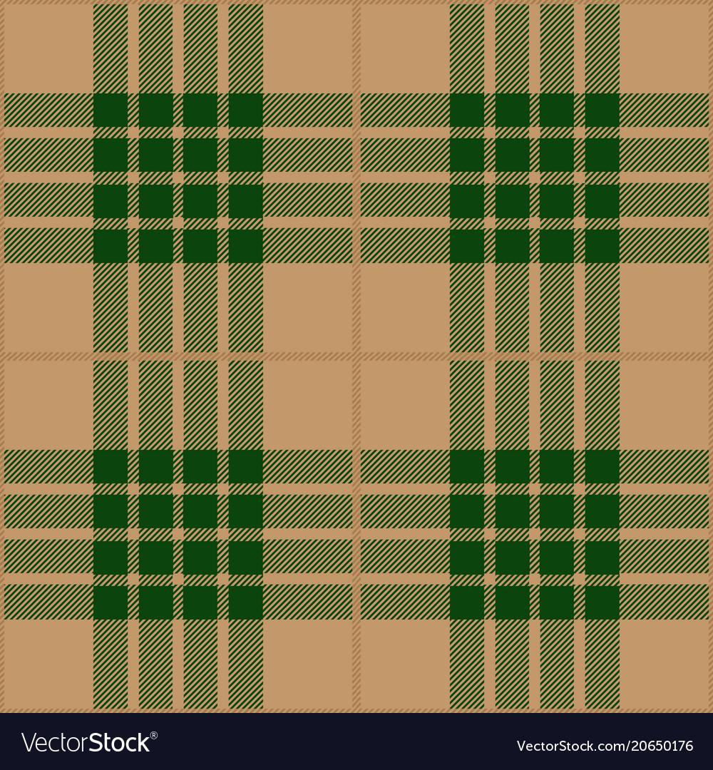 Green and beige tartan plaid seamless pattern