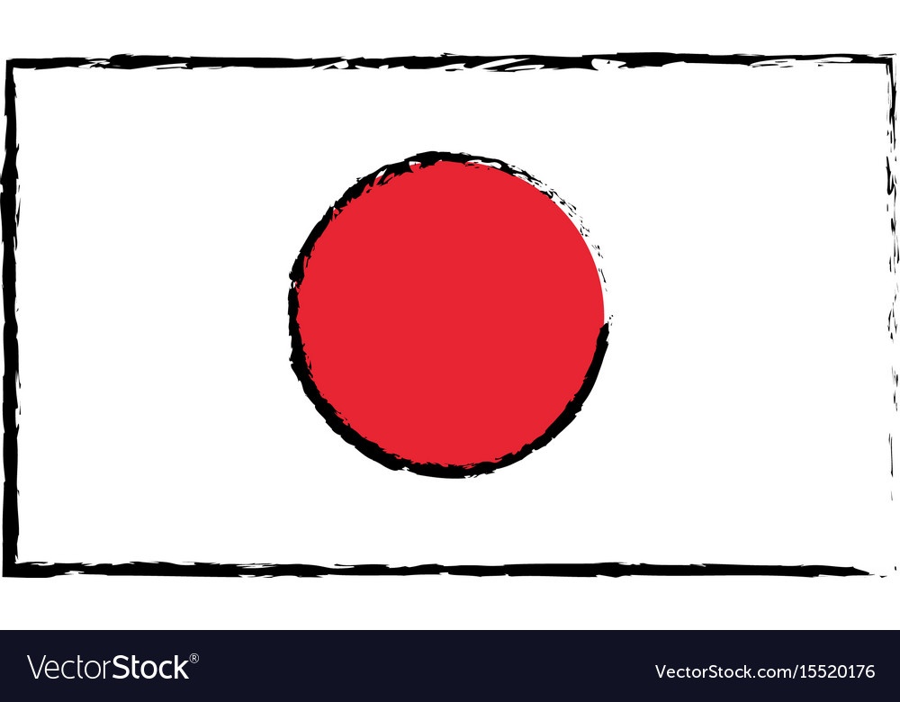Japan Flag Emblem Country Symbol Royalty Free Vector Image