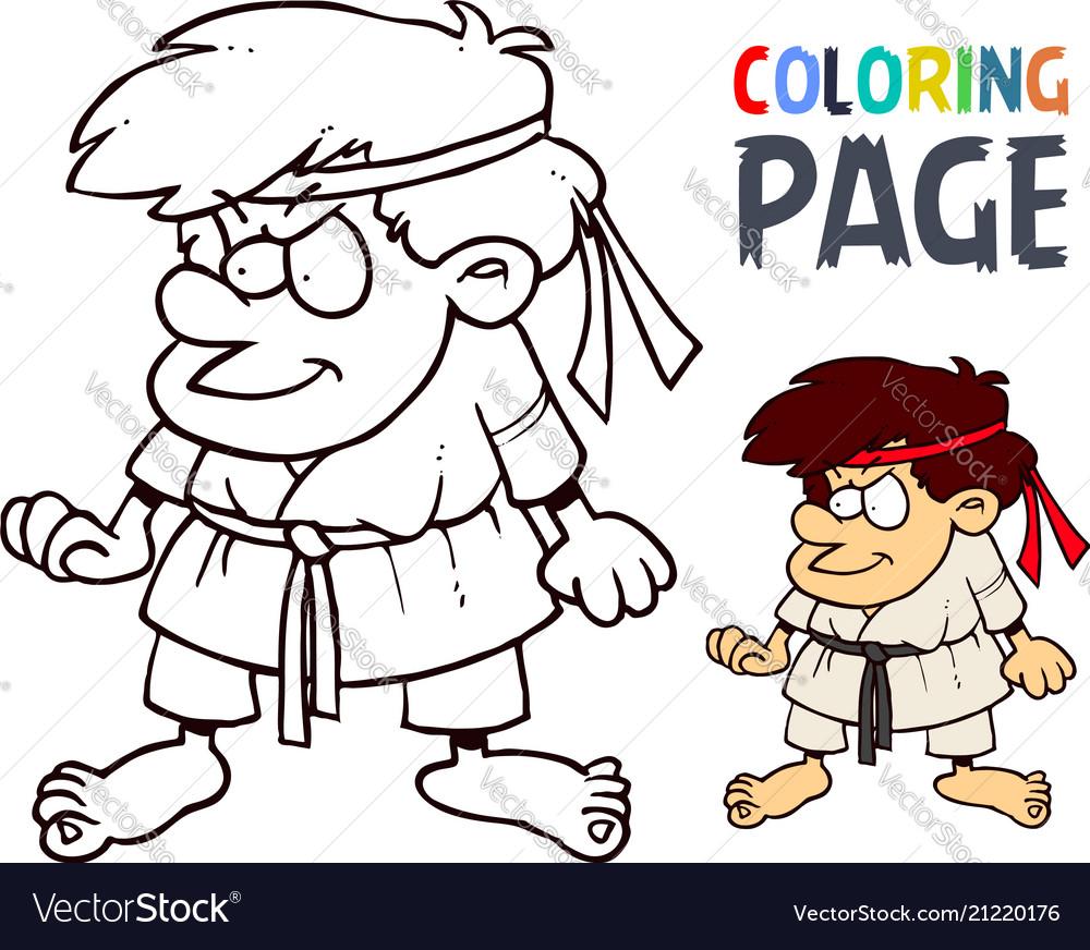 Karate martial art cartoon people coloring page