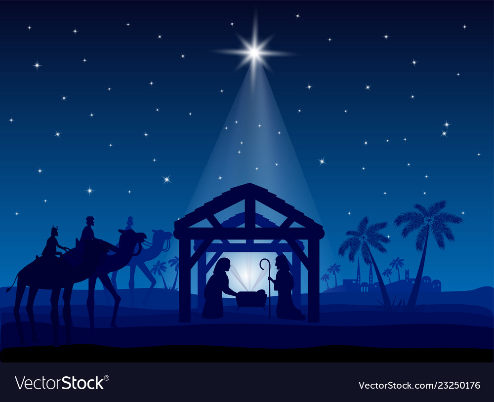 Christmas Nativity.Nativity Scene Christmas Star On Blue Sky And
