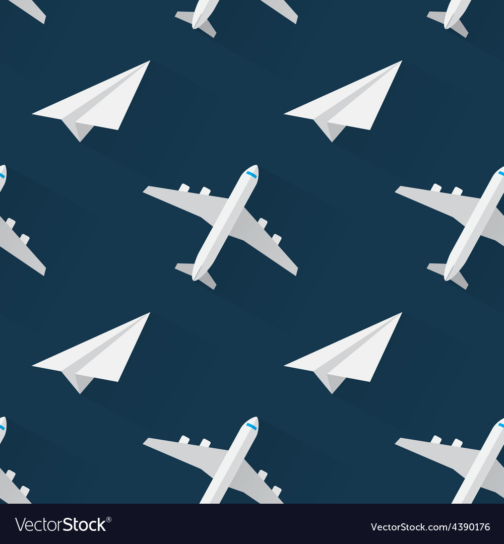 Seamless background with airplanes modern flat