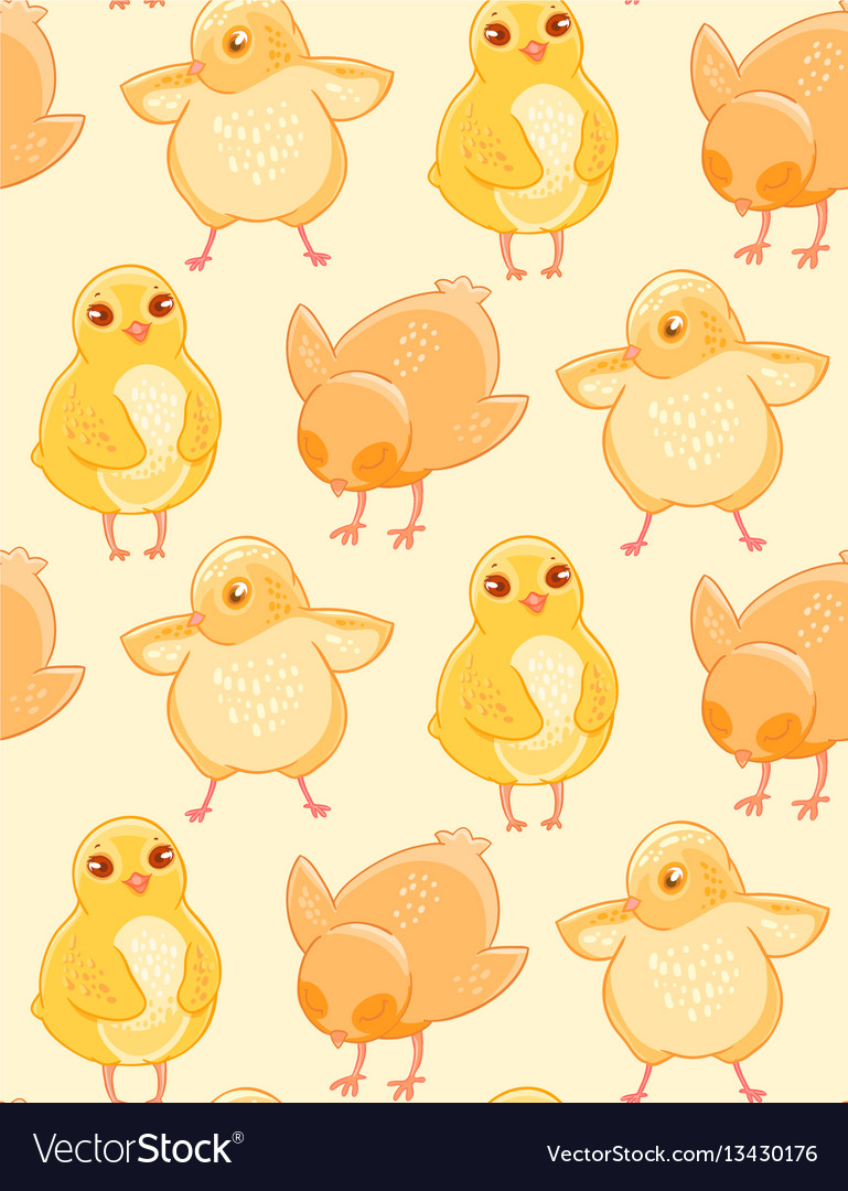 Seamless Pattern With Cute Hand Drawn Chicken On A Vector Image