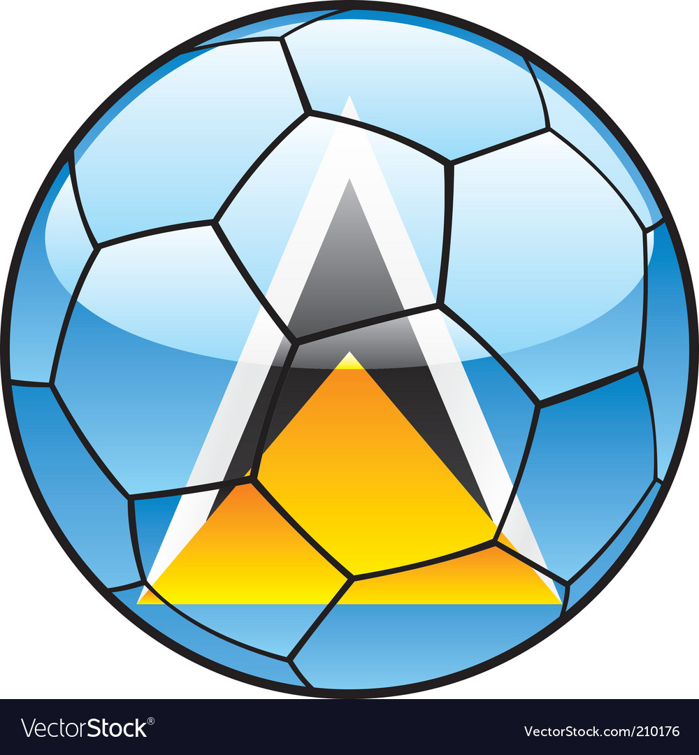St Lucia flag on soccer ball vector image