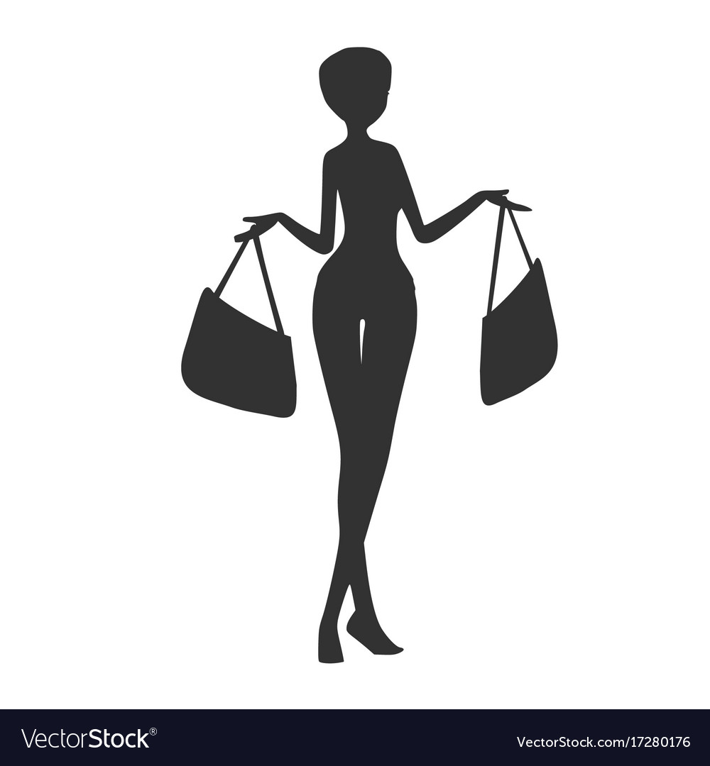Woman with shopping bags Royalty Free Vector Image 50d89b4570