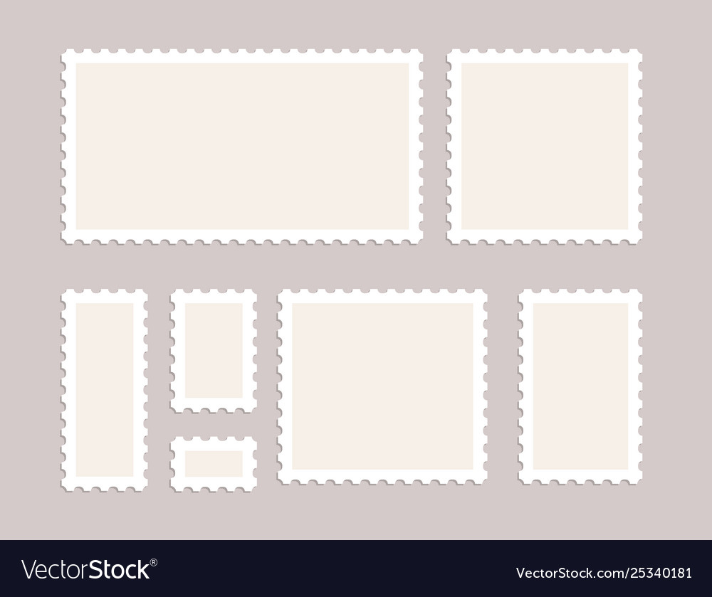 Blank postage stamps set isolated mark