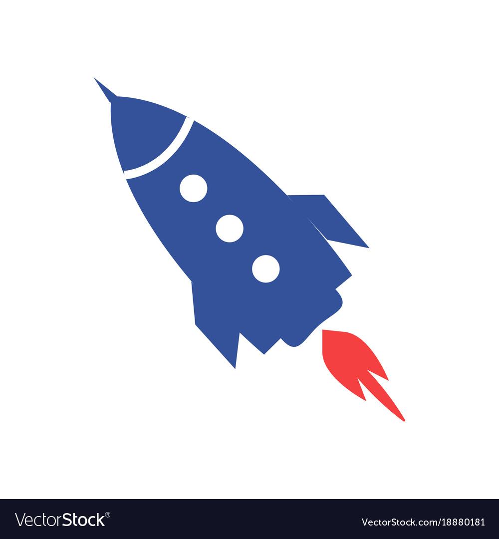 Blue rocket icon isolated on white