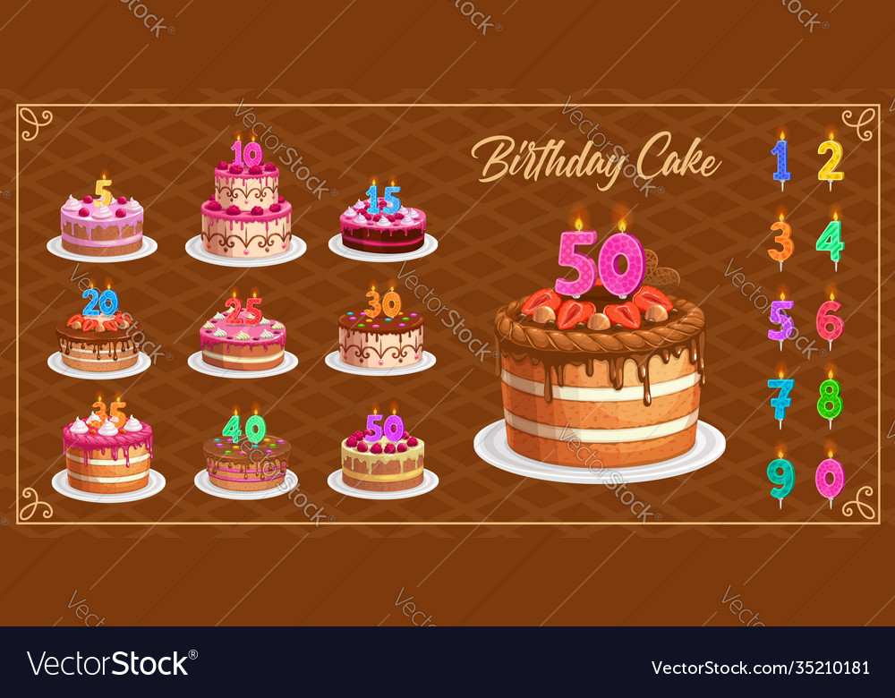 Candles on birthday cakes with age numbers set