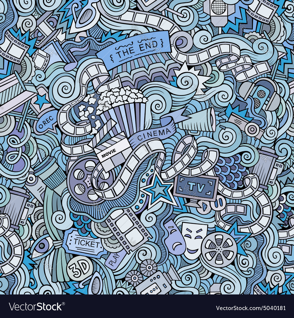 Cartoon doodles cinema seamless pattern