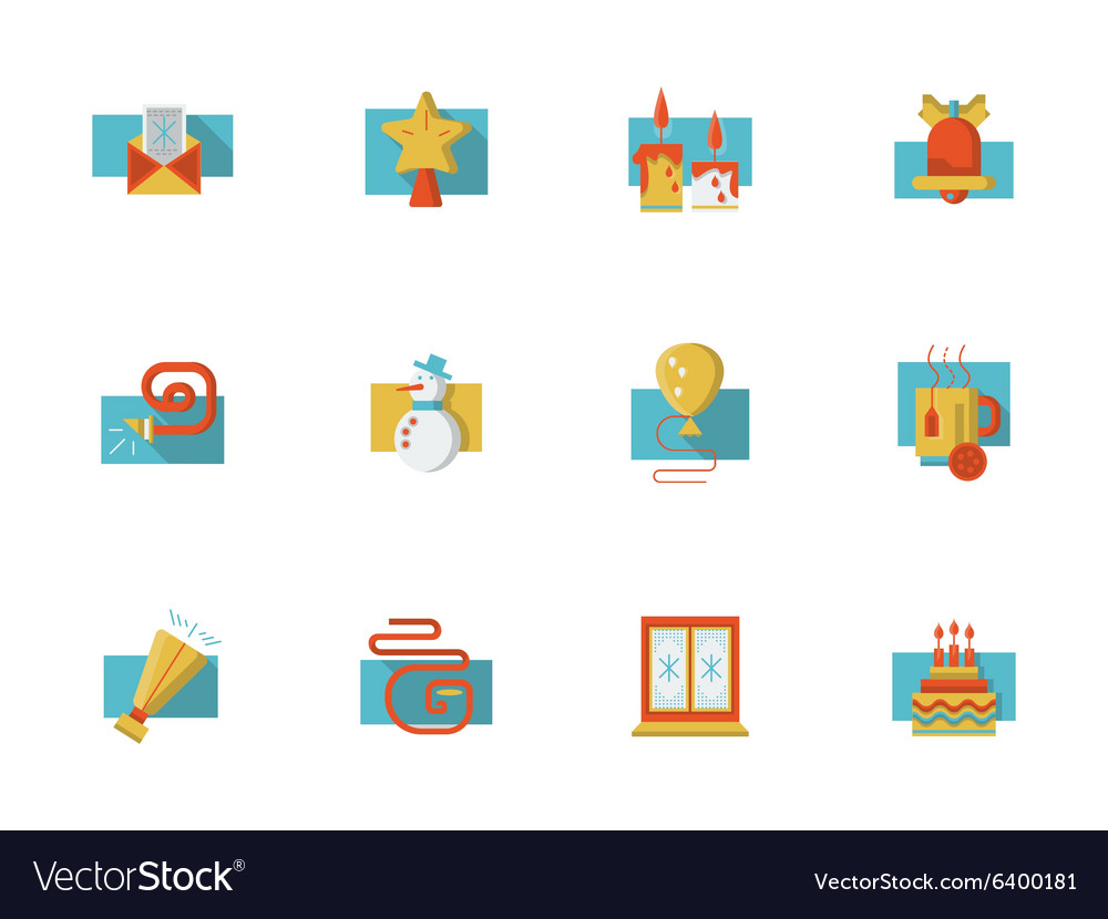 Christmas party flat color icons vector image