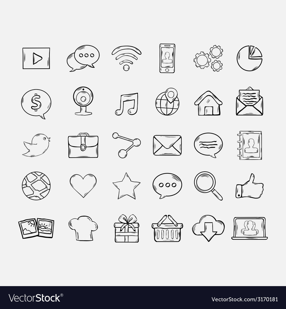 Doodle mobile apps icons set vector image