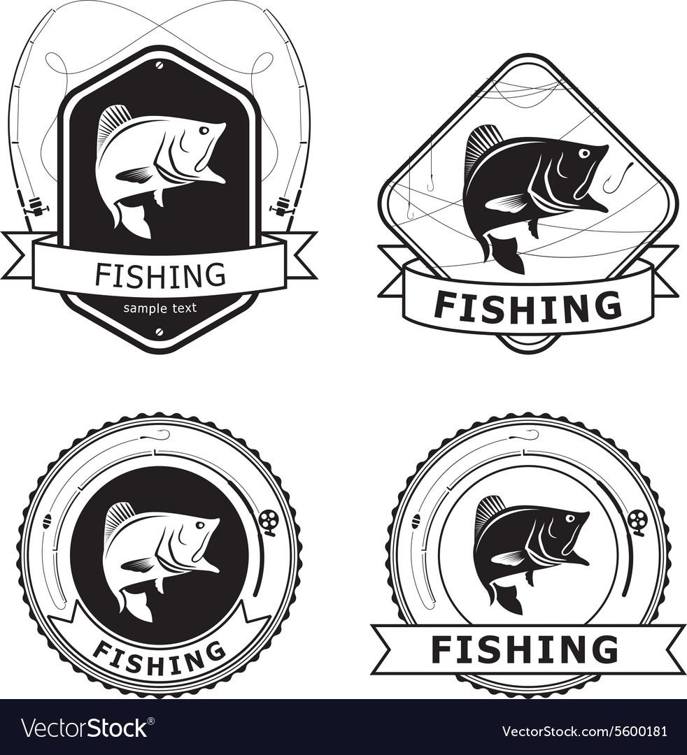 Fishing Bass Label vector image