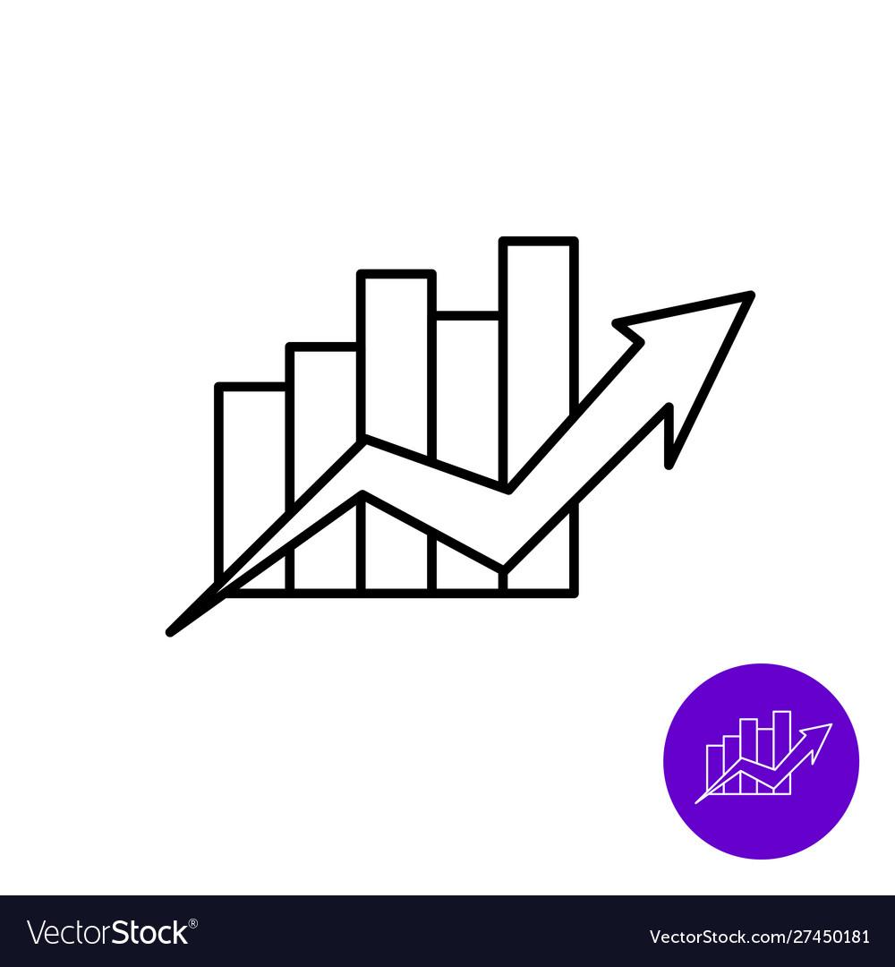Market growth icon outline style column diagram
