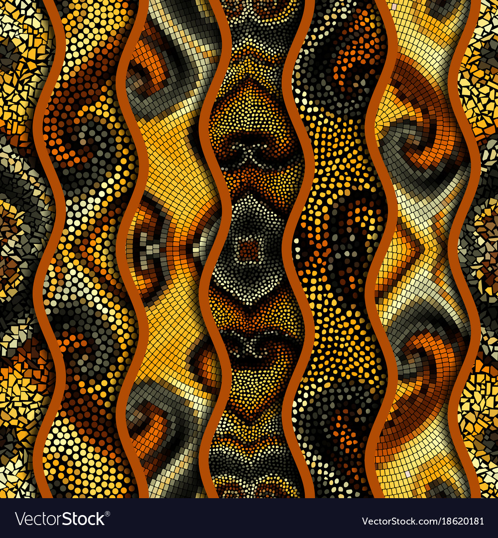 Relief waves of ornamental mosaic tile patterns Vector Image