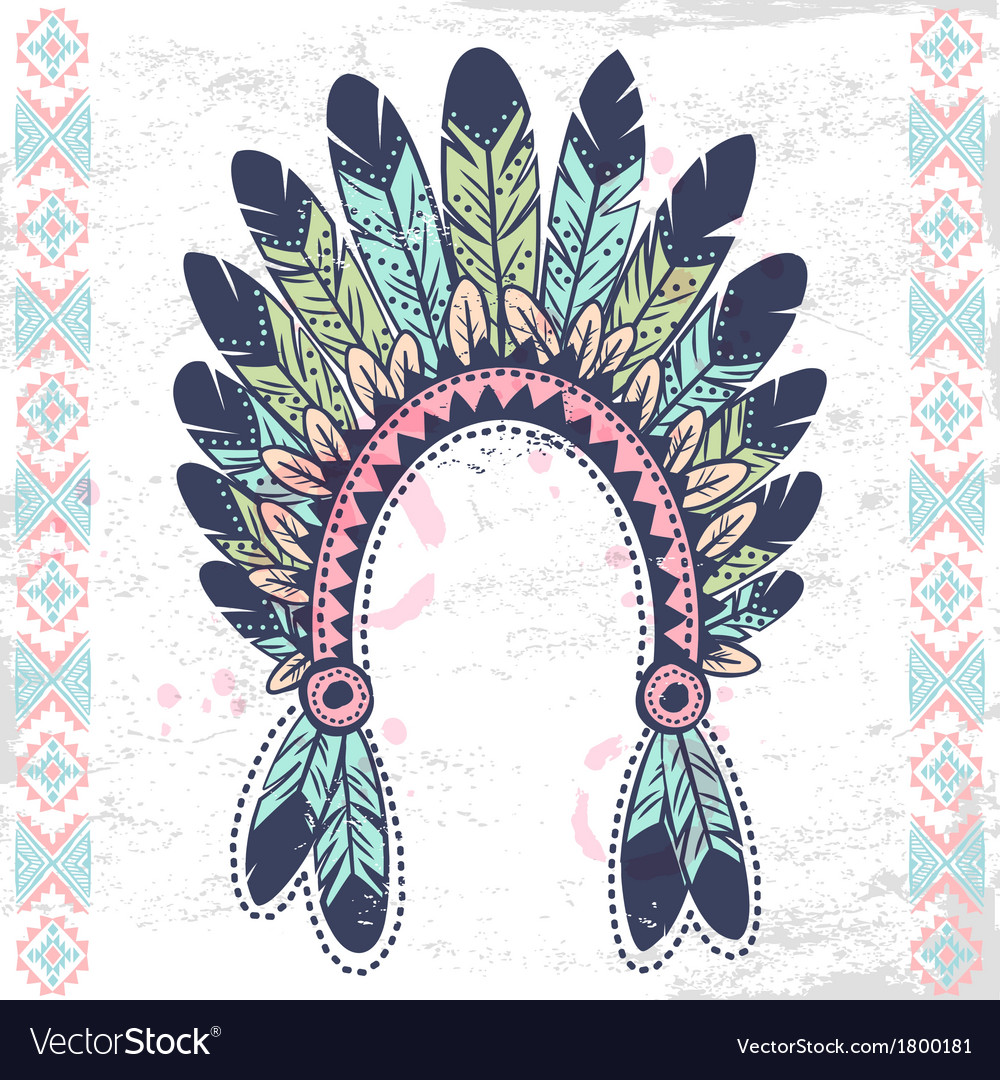 tribal native american fetaher headband royalty free vector