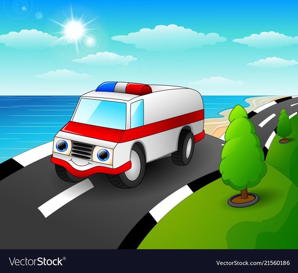 Ambulance car cartoon in th