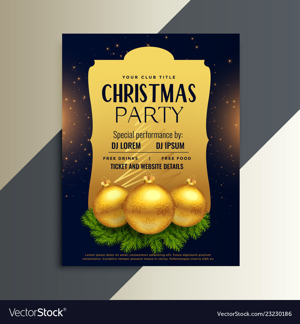 Beautiful luxury party flyer for christmas