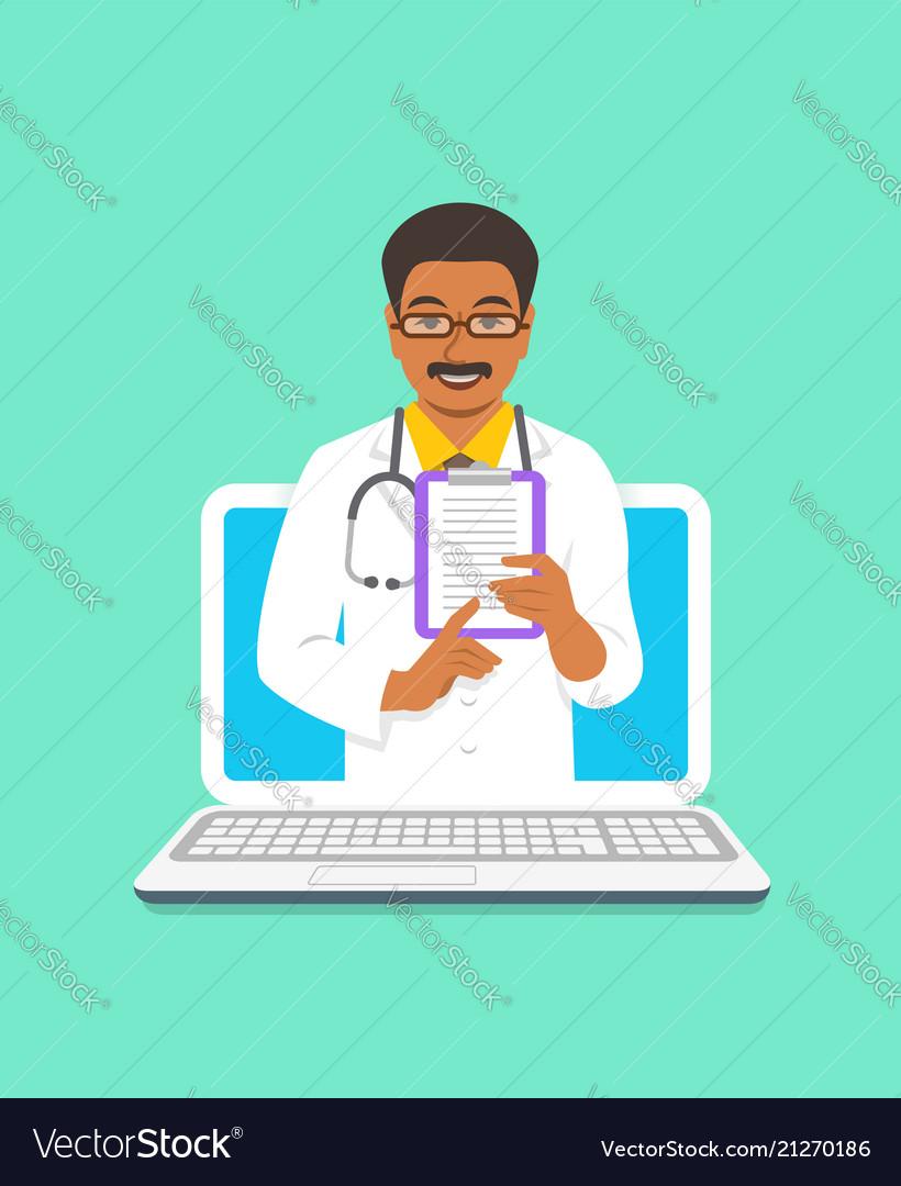 Black man doctor online consultation concept