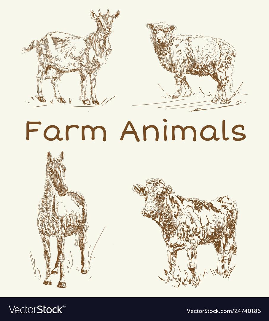 Doodle animals farm animals vintage set