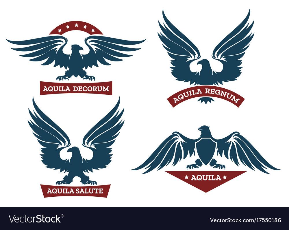 Eagle and ribbon emblem set