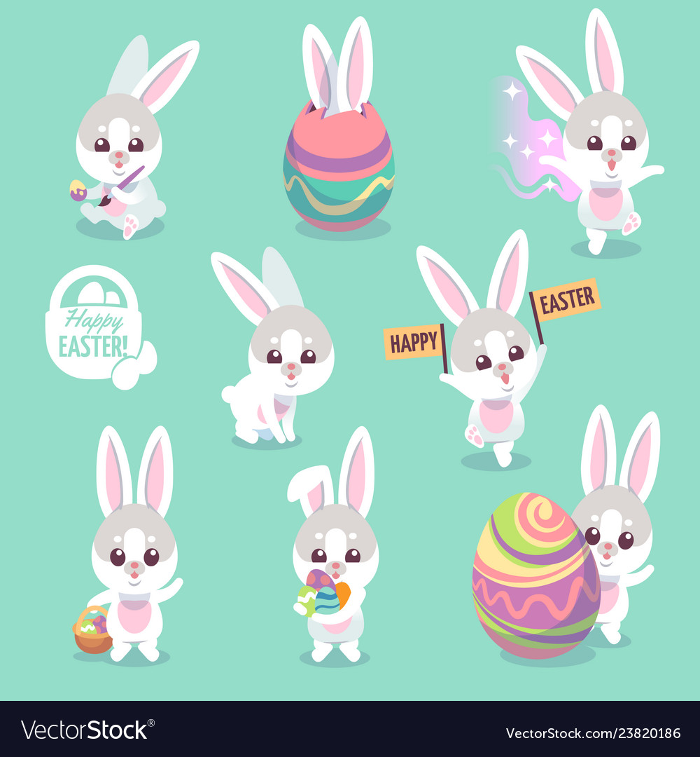 Easter bunny characters cute rabbit with easter