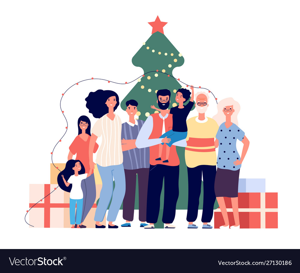 Family at christmas tree smiling adults and kids