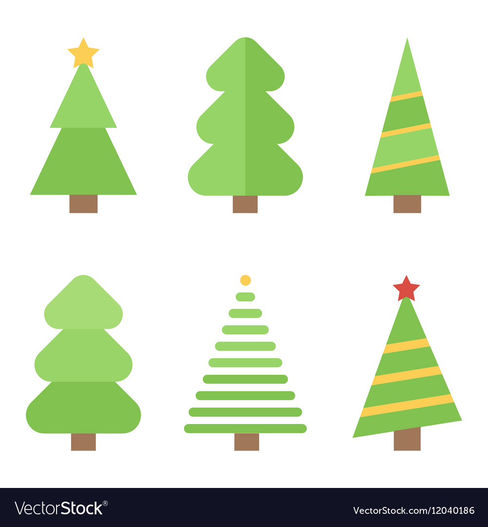 Flat design christmas trees set collection vector image