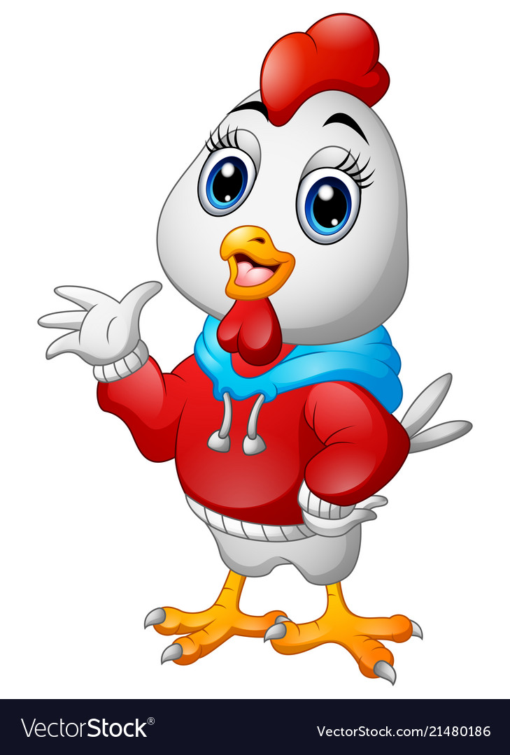 Funny cartoon rooster in a red jacket waving