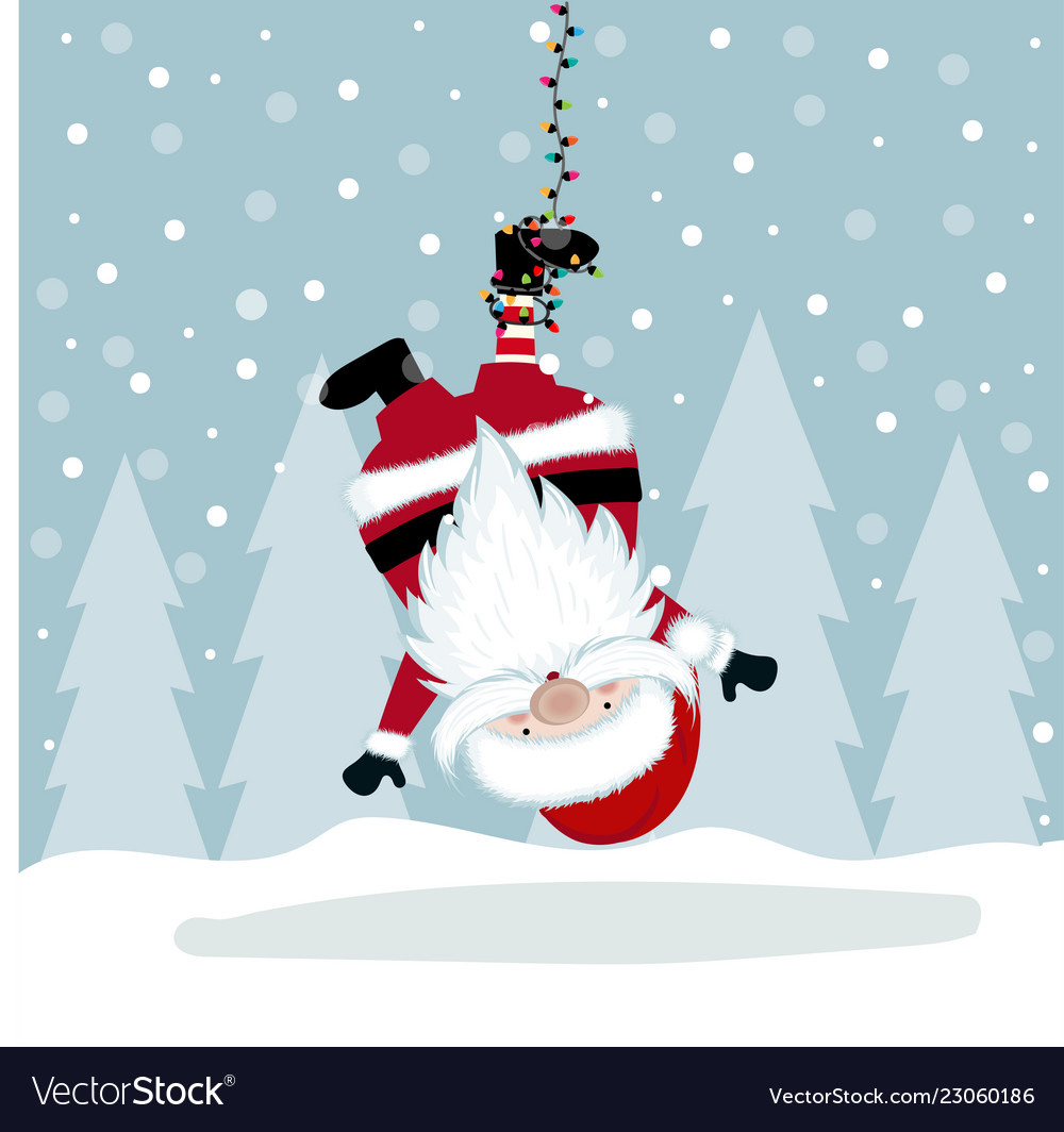 Funny christmas with hanging santa
